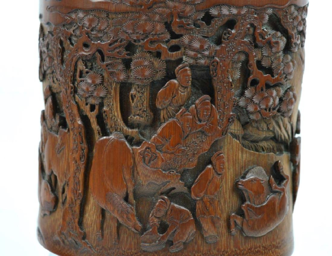 Finely Carved Bamboo Bitong w Horses Signed Li Fu - 3
