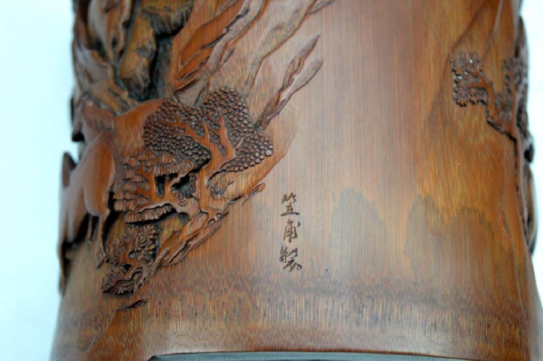 Finely Carved Bamboo Bitong w Horses Signed Li Fu - 5