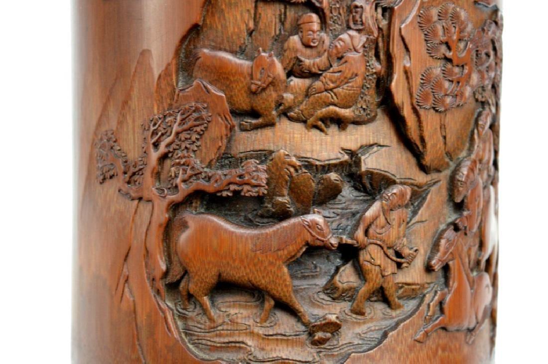 Finely Carved Bamboo Bitong w Horses Signed Li Fu - 9