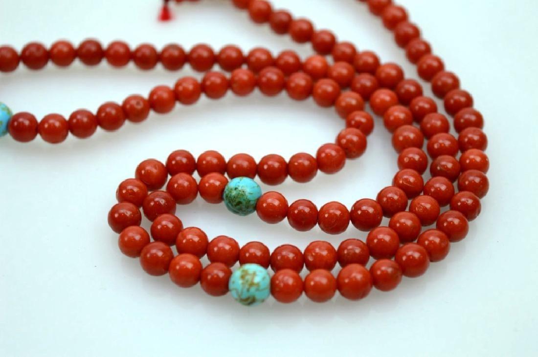 108 Bead Chinese Dark Coral Rosary; 42.5G - 2