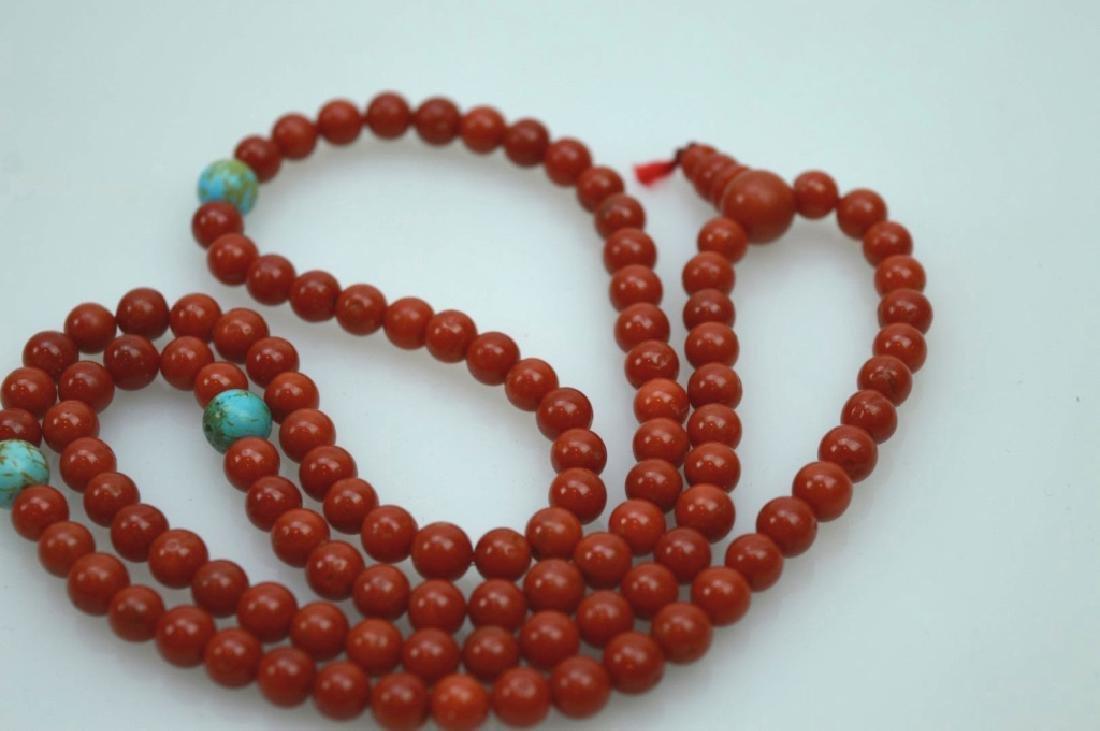 108 Bead Chinese Dark Coral Rosary; 42.5G - 3