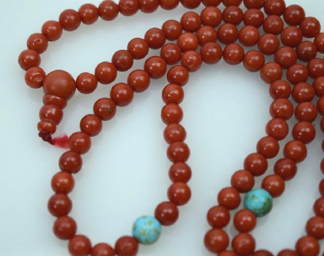 108 Bead Chinese Dark Coral Rosary; 42.5G - 4