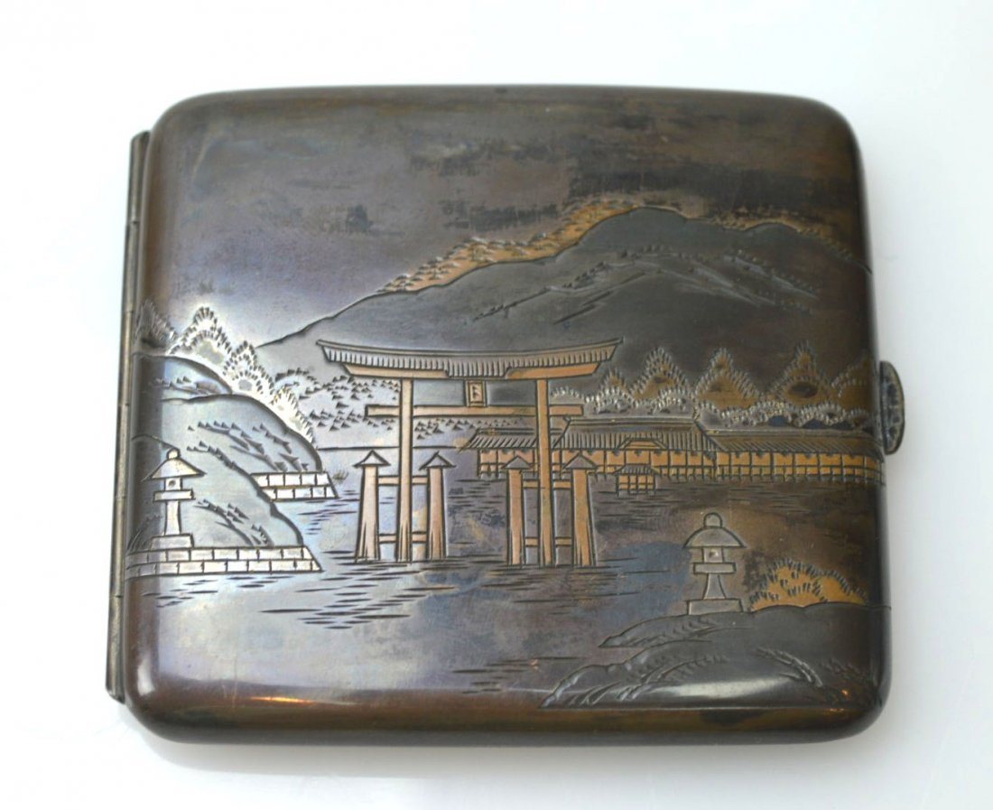 Japanese Engraved Mixed Metals Silver Cigarette Case