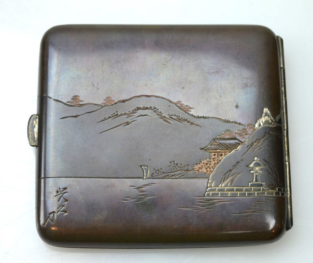 Japanese Engraved Mixed Metals Silver Cigarette Case - 2