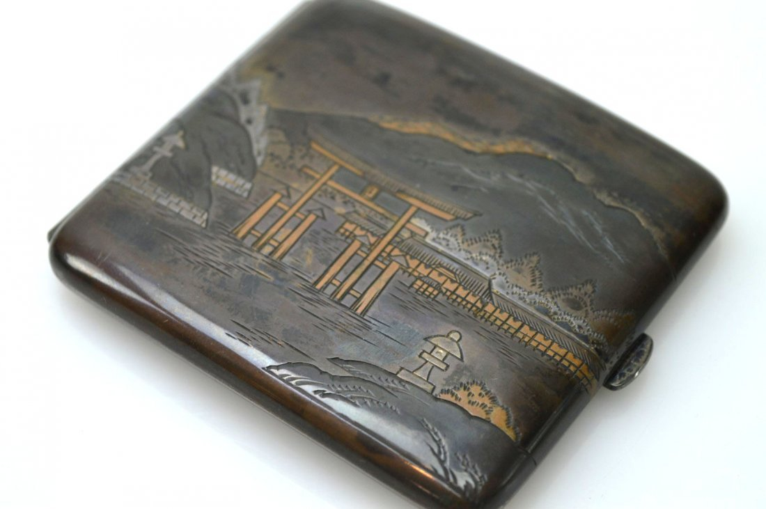 Japanese Engraved Mixed Metals Silver Cigarette Case - 3