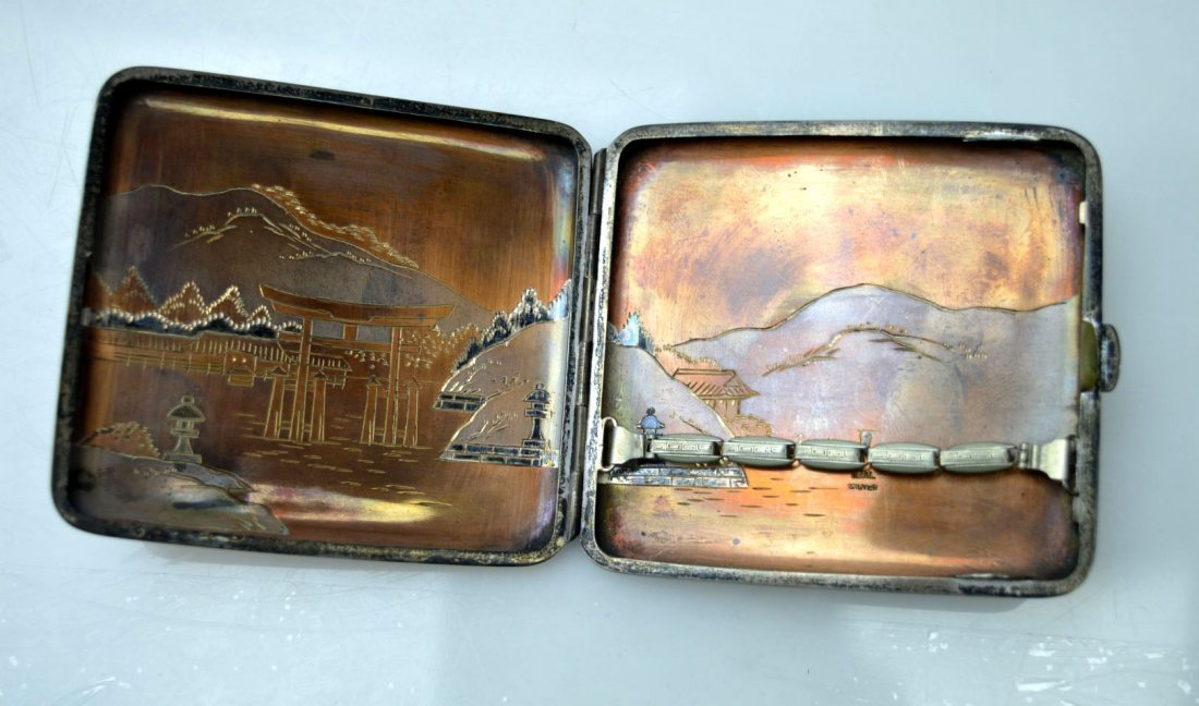 Japanese Engraved Mixed Metals Silver Cigarette Case - 4