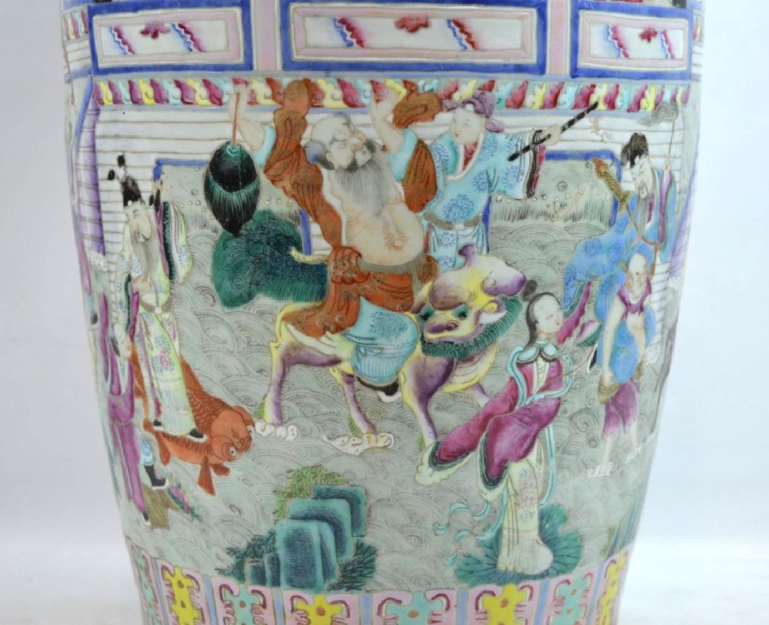 Large 19th C Chinese Famille Rose Porcelain Vase - 3