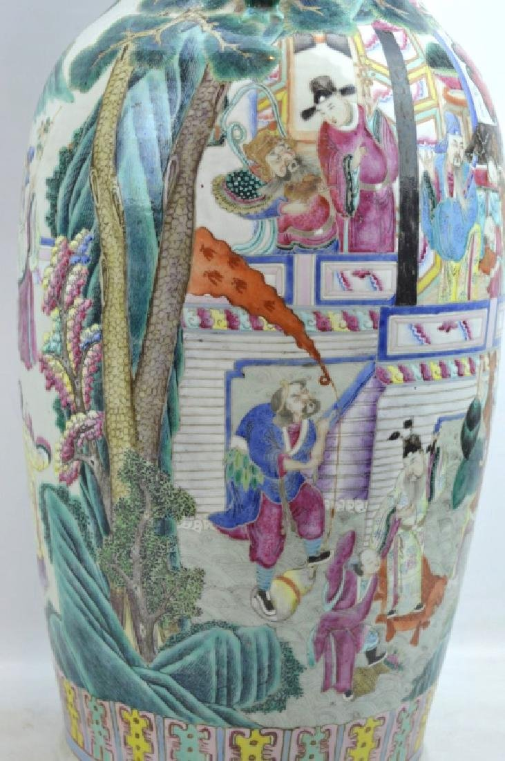 Large 19th C Chinese Famille Rose Porcelain Vase - 4
