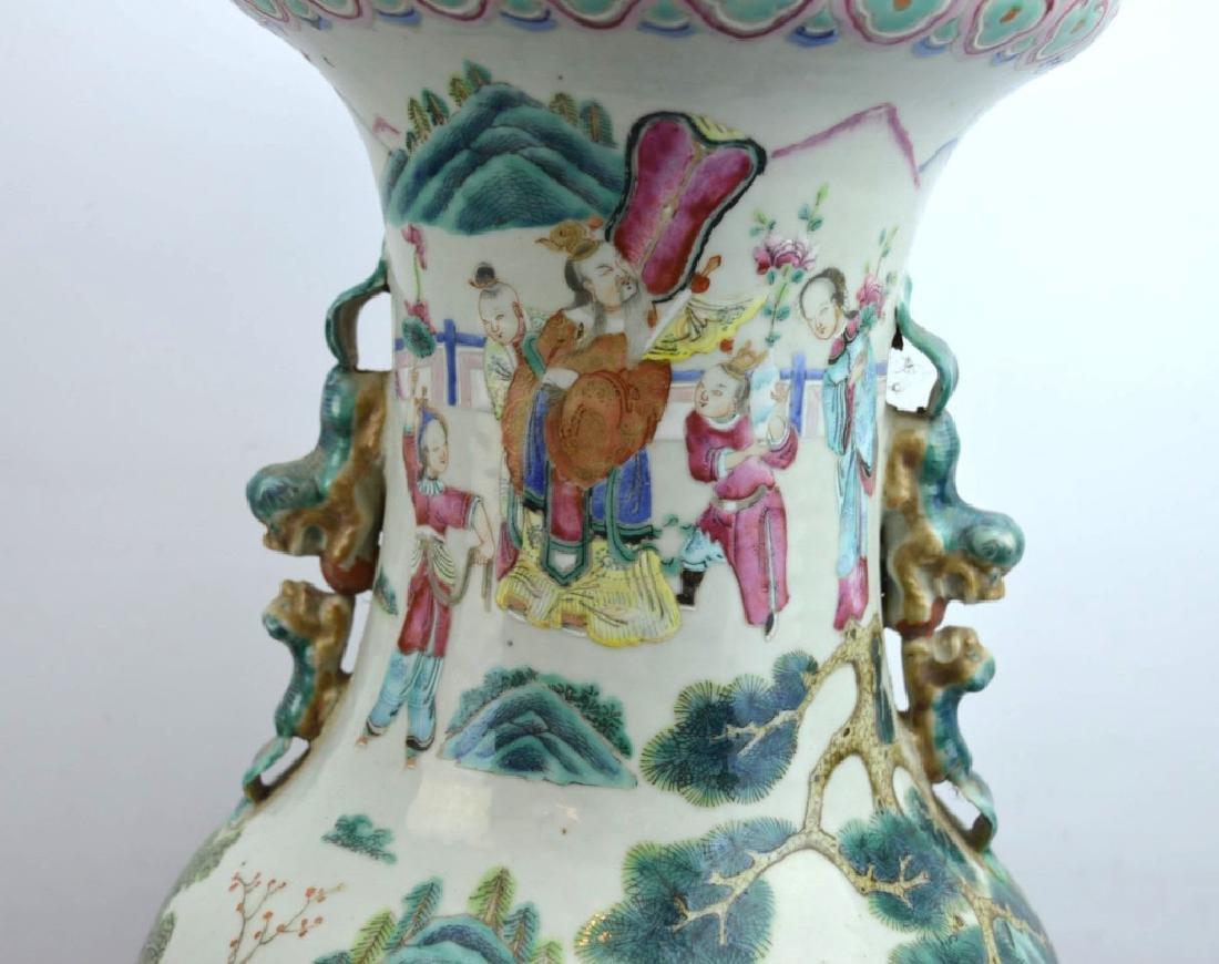 Large 19th C Chinese Famille Rose Porcelain Vase - 5