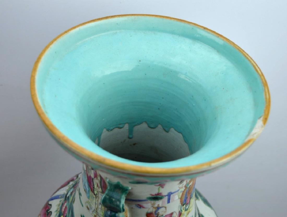 Large 19th C Chinese Famille Rose Porcelain Vase - 8