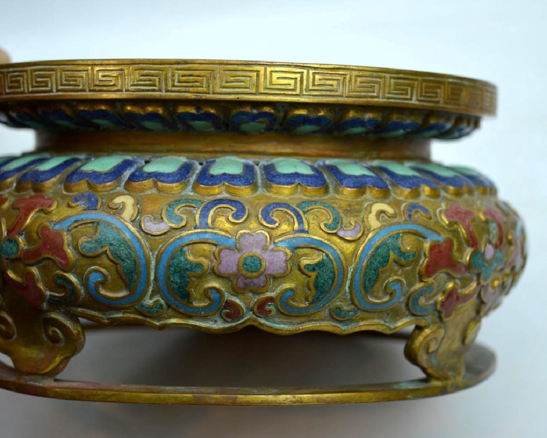 Fine Chinese Gilt Bronze & Gemstone 9 Ruyi Planter - 10