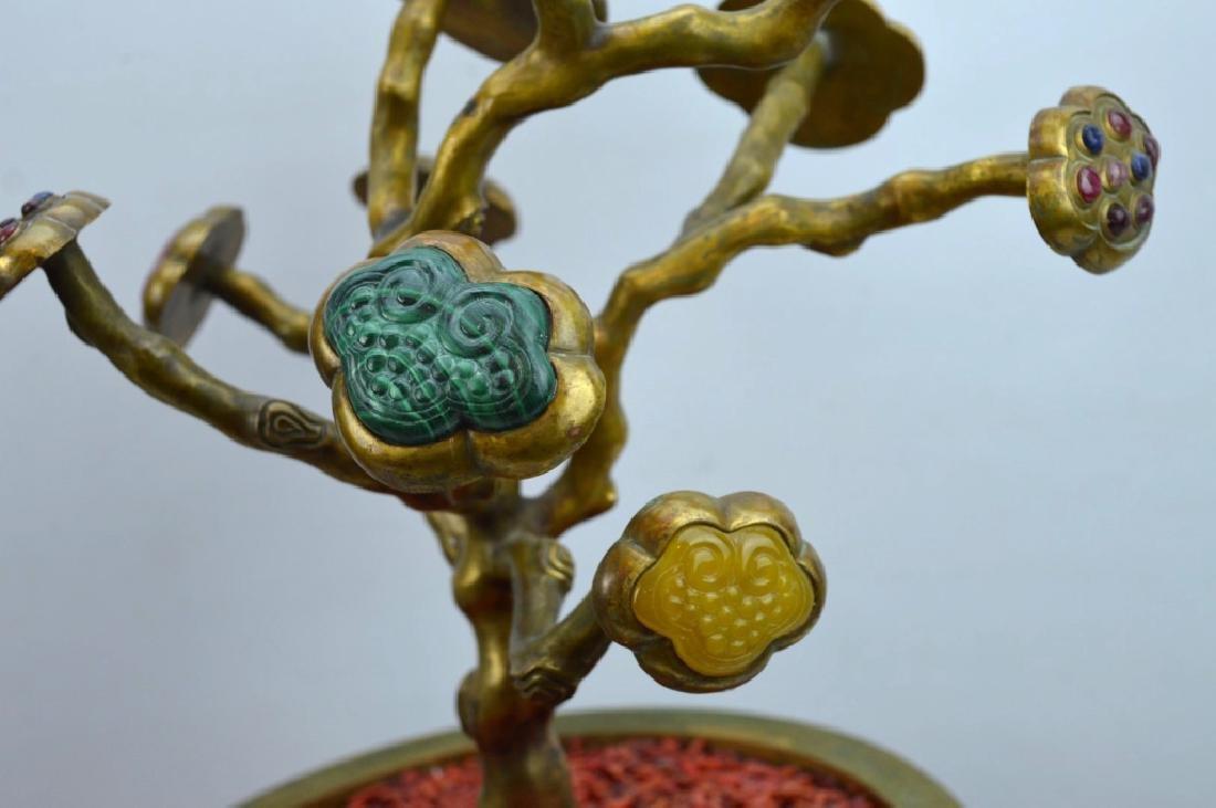 Fine Chinese Gilt Bronze & Gemstone 9 Ruyi Planter - 4