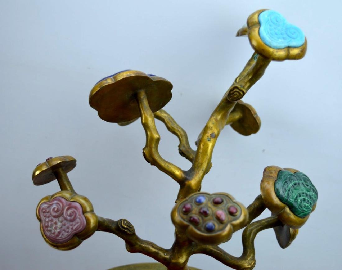Fine Chinese Gilt Bronze & Gemstone 9 Ruyi Planter - 5