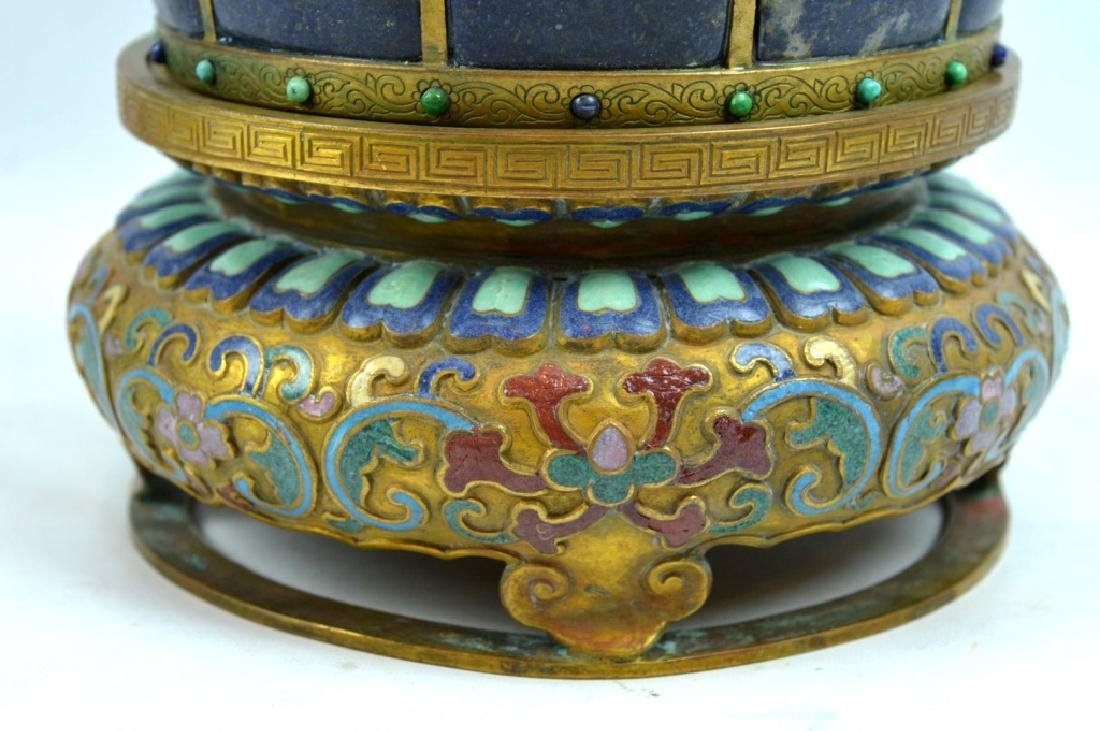 Fine Chinese Gilt Bronze & Gemstone 9 Ruyi Planter - 8