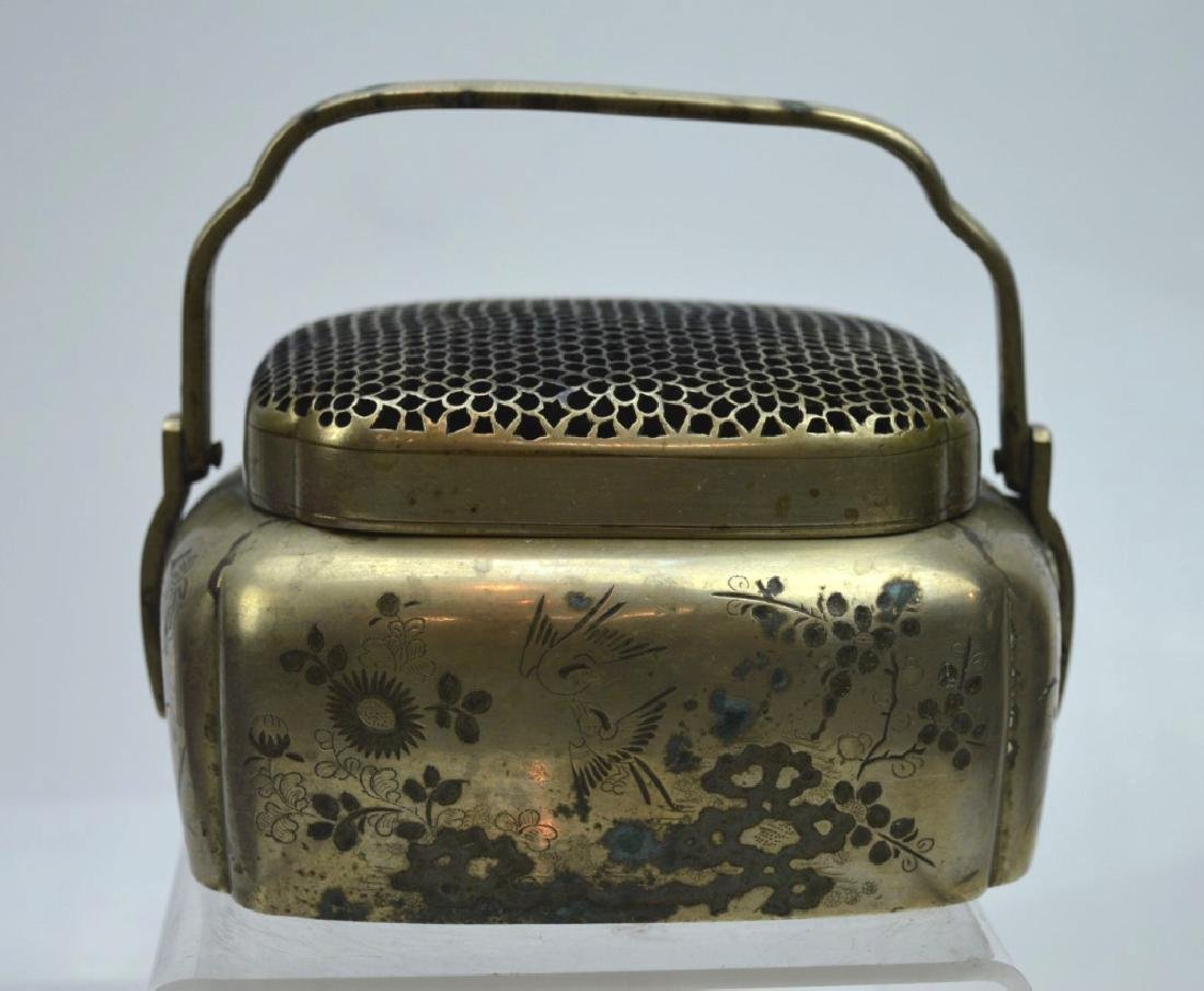 Antique Chinese Incised White Bronze Hand Warmer
