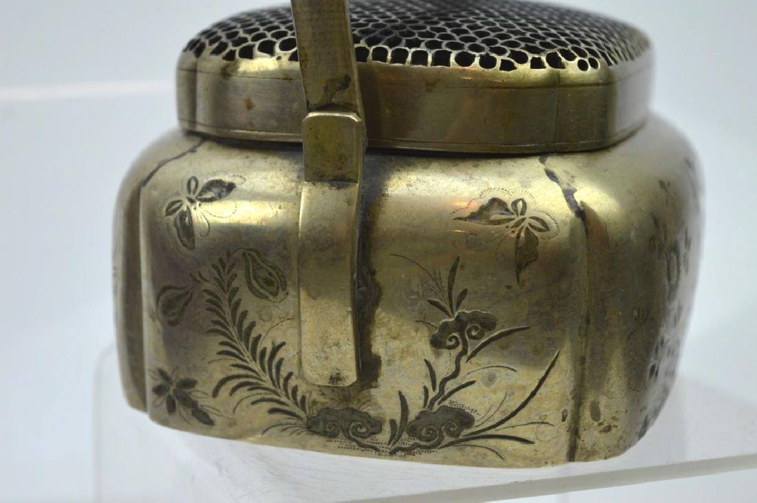 Antique Chinese Incised White Bronze Hand Warmer - 2