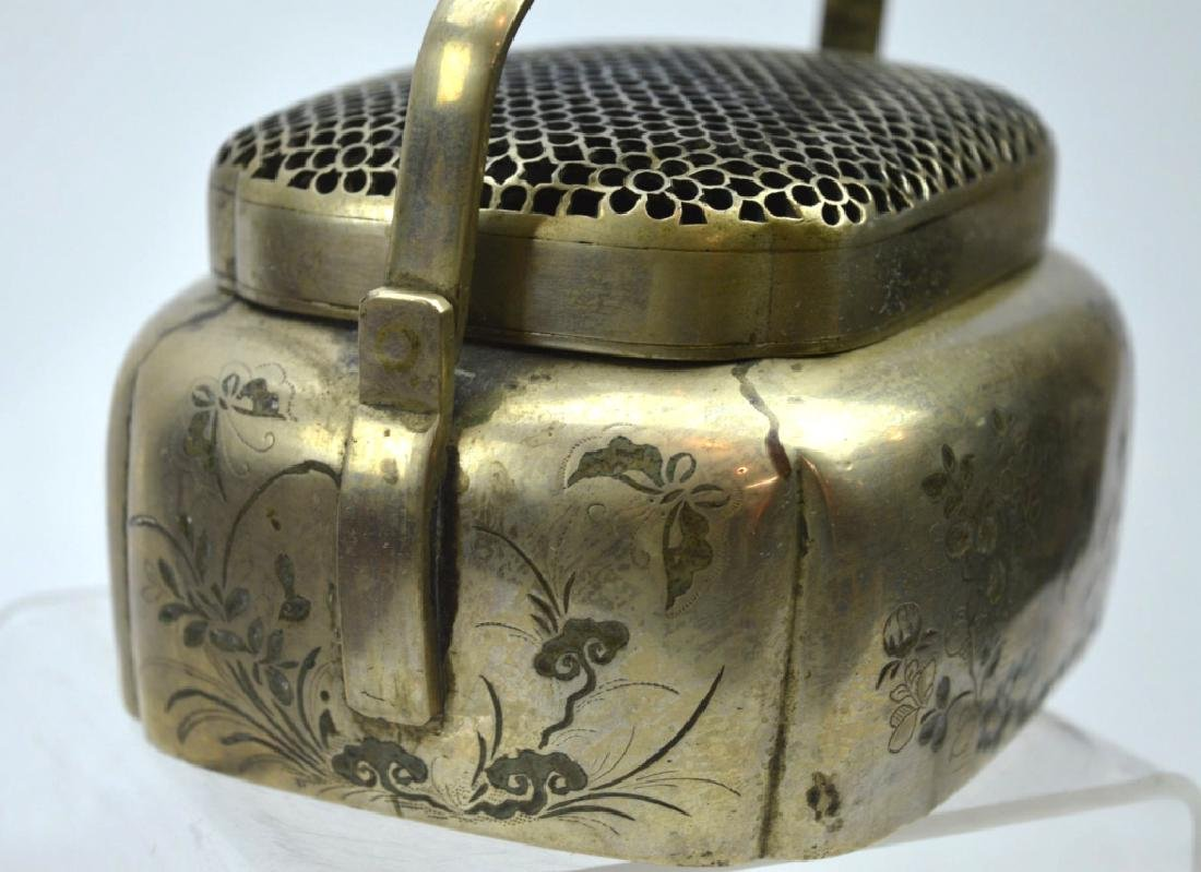 Antique Chinese Incised White Bronze Hand Warmer - 4