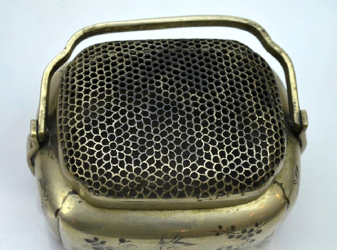 Antique Chinese Incised White Bronze Hand Warmer - 5