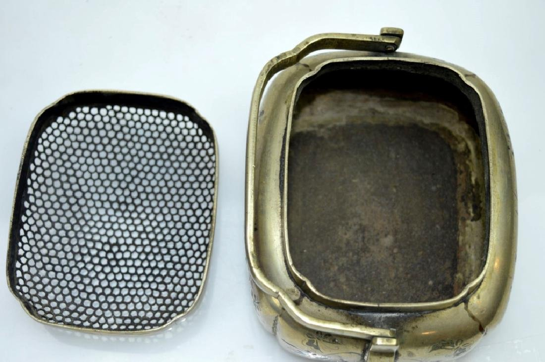 Antique Chinese Incised White Bronze Hand Warmer - 6