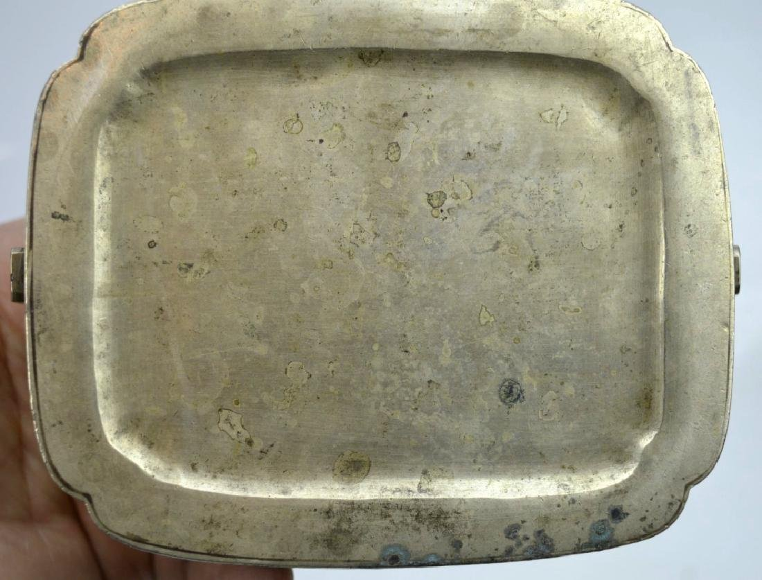 Antique Chinese Incised White Bronze Hand Warmer - 7