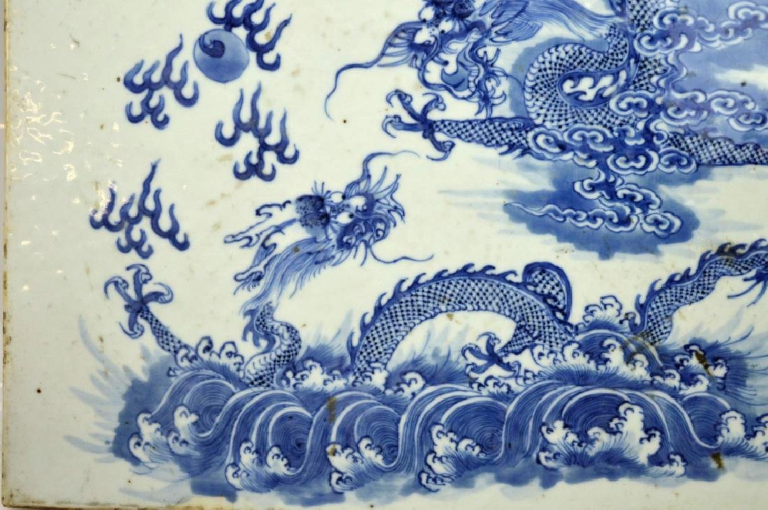 19C Chinese Blue & White Porcelain Dragon Plaque - 3