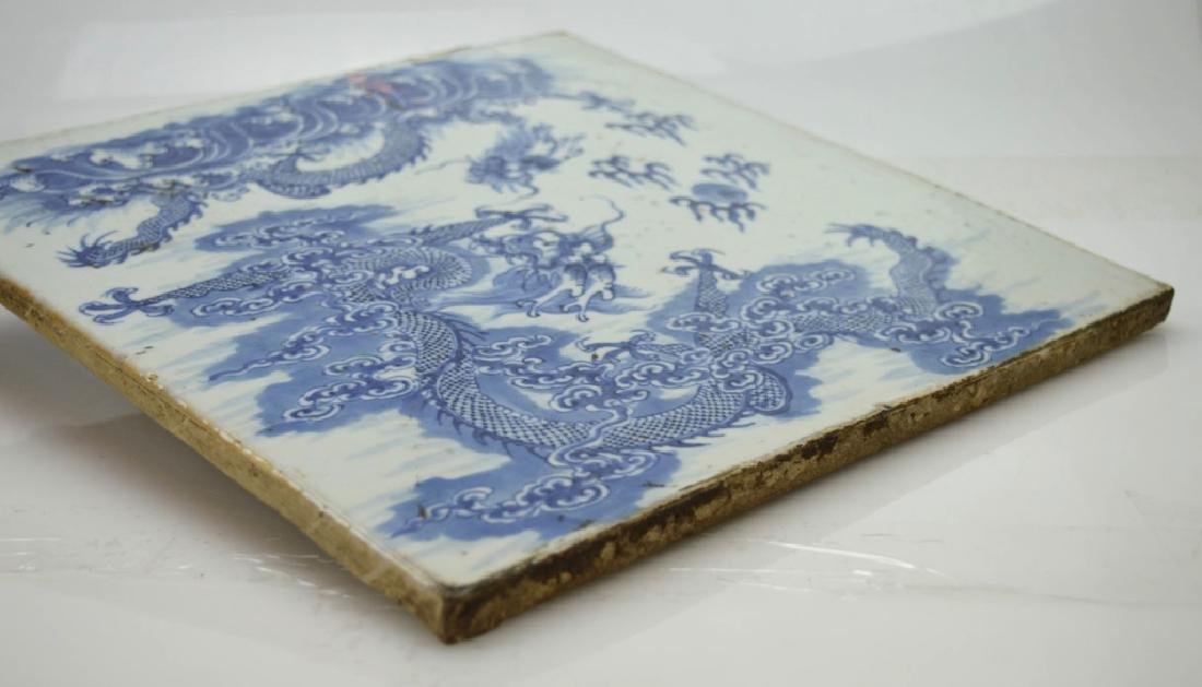 19C Chinese Blue & White Porcelain Dragon Plaque - 6
