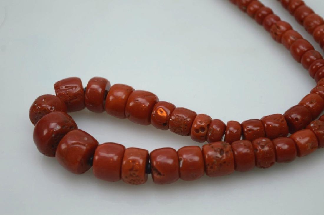 Antique Tibetan Dark Coral Bead Necklace; 111G - 3