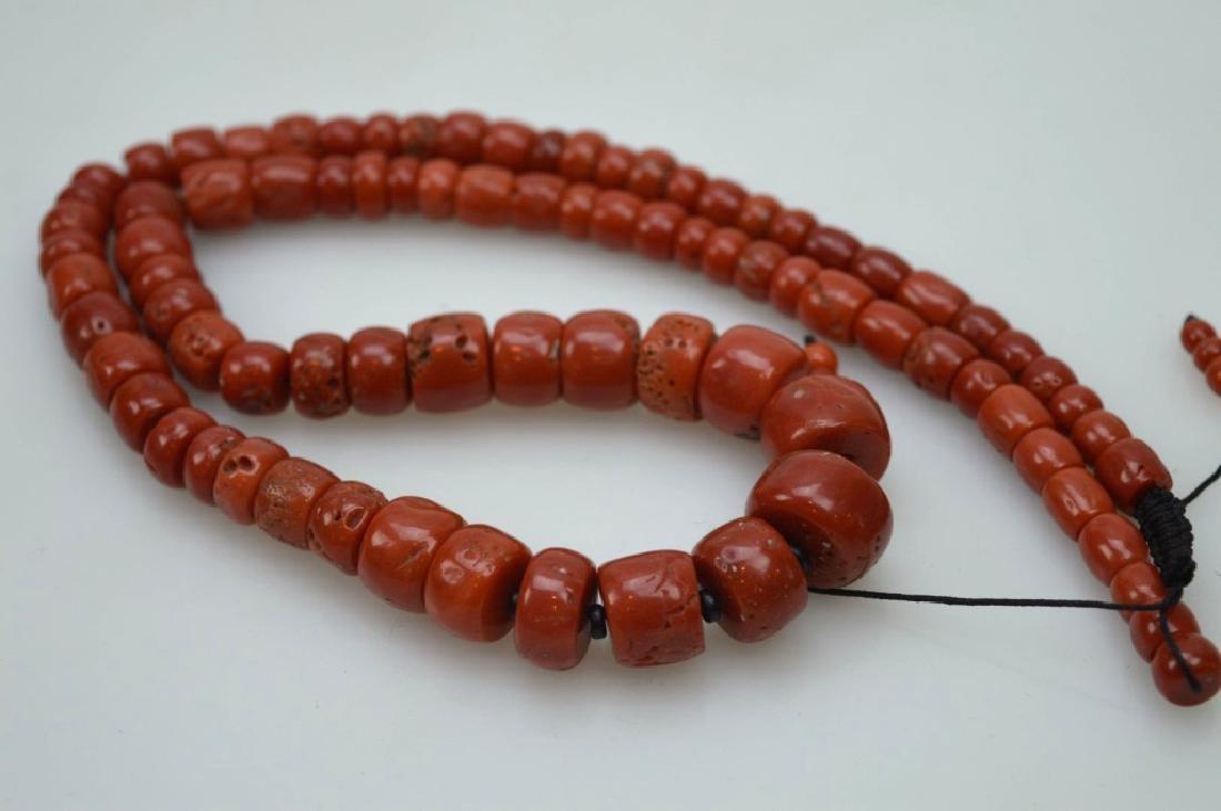 Antique Tibetan Dark Coral Bead Necklace; 111G - 5