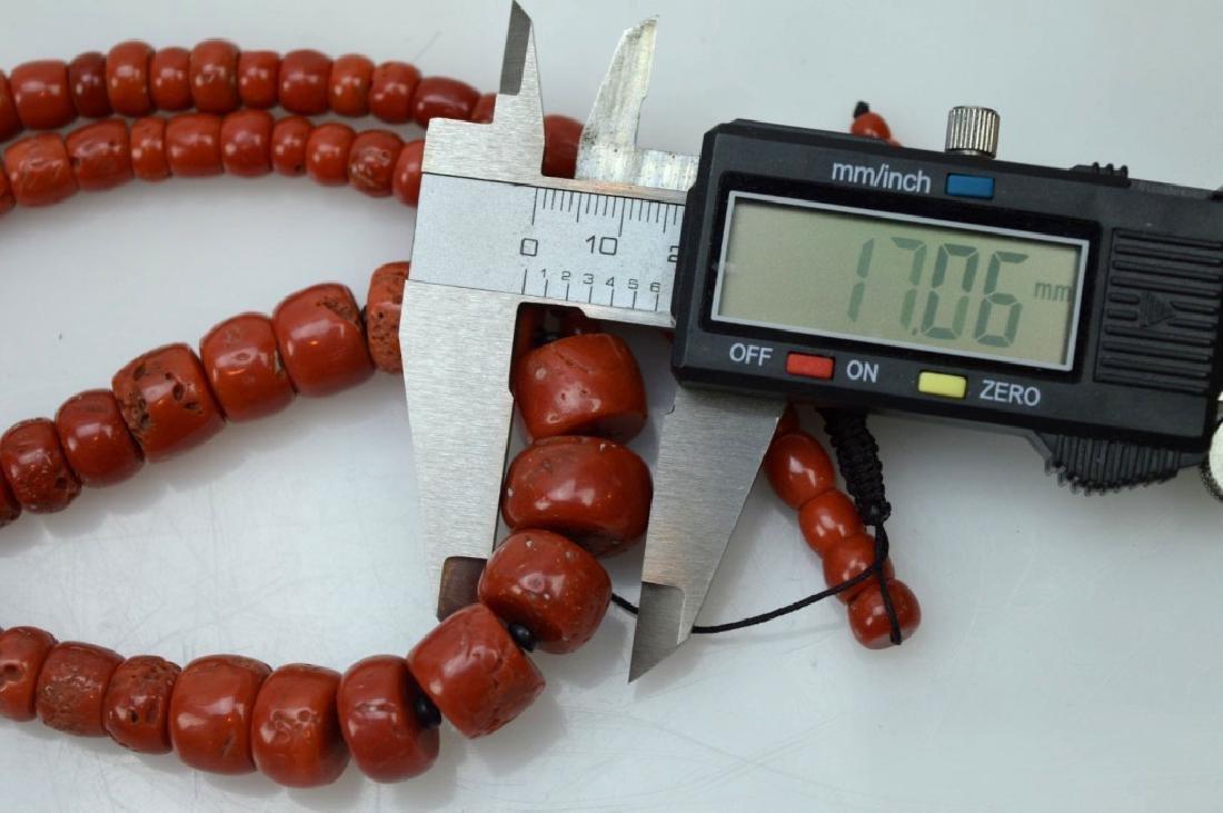 Antique Tibetan Dark Coral Bead Necklace; 111G - 6
