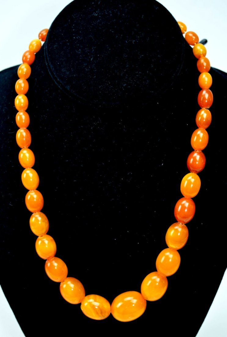 Amber Beads Necklace; Total Weight 36G