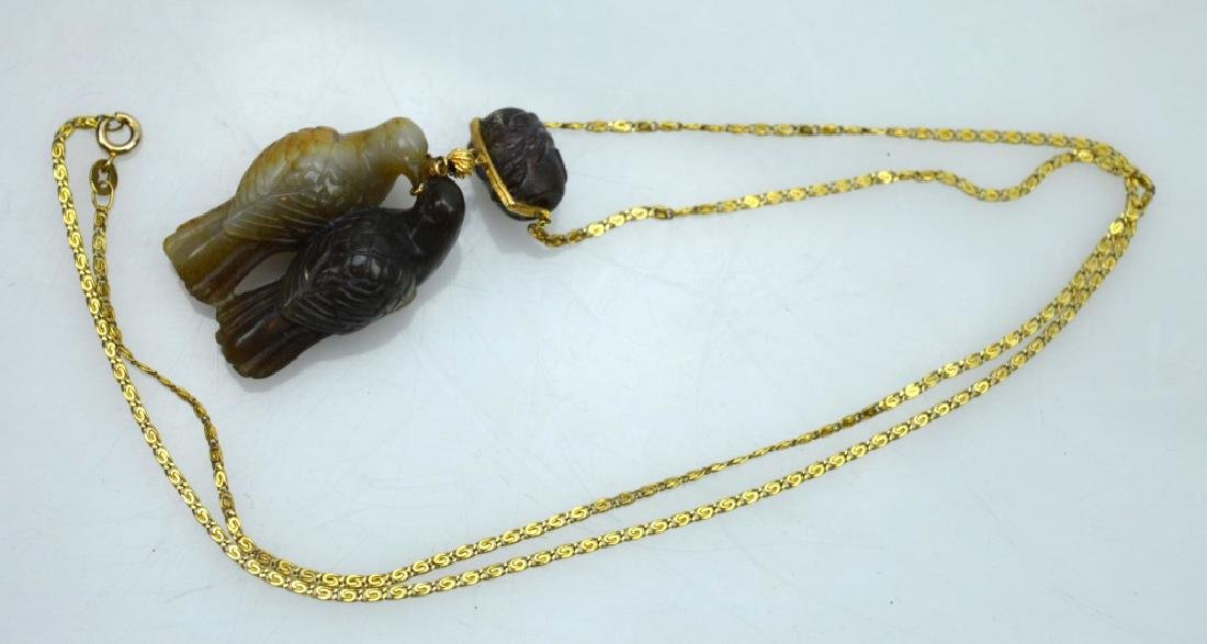 Qing Chinese 2 Color Jade Birds; 14K Chain