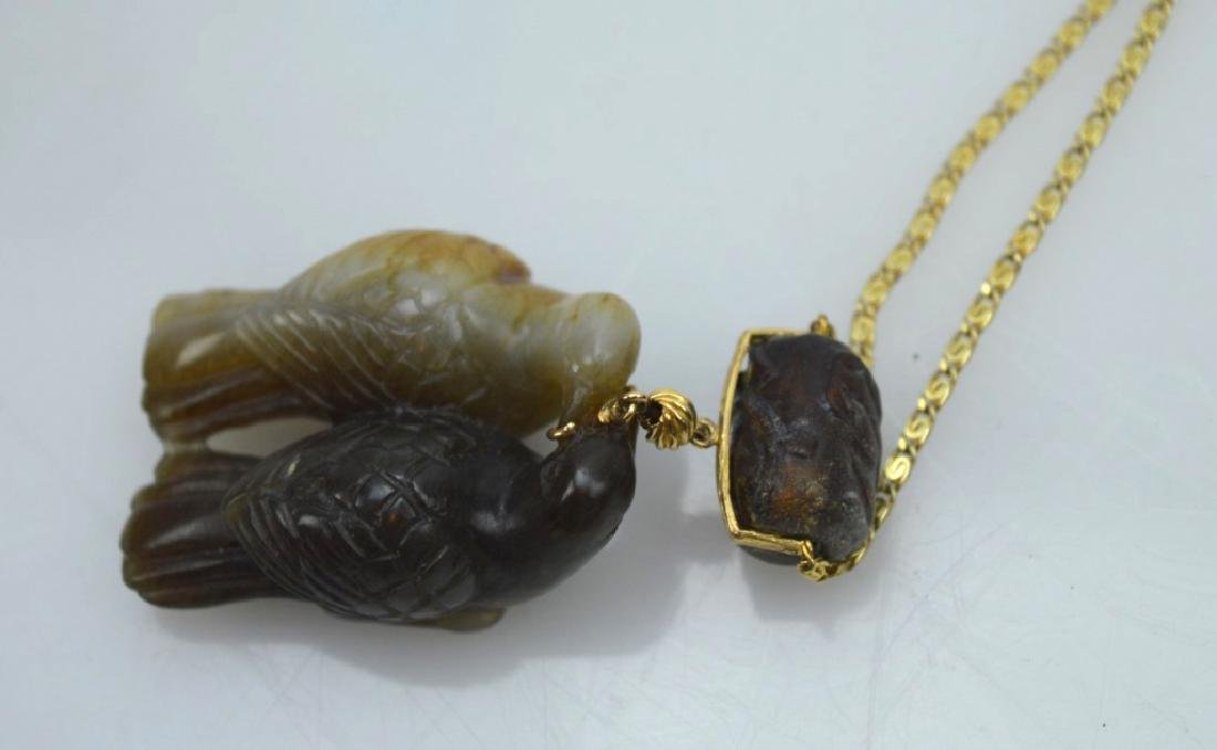 Qing Chinese 2 Color Jade Birds; 14K Chain - 4