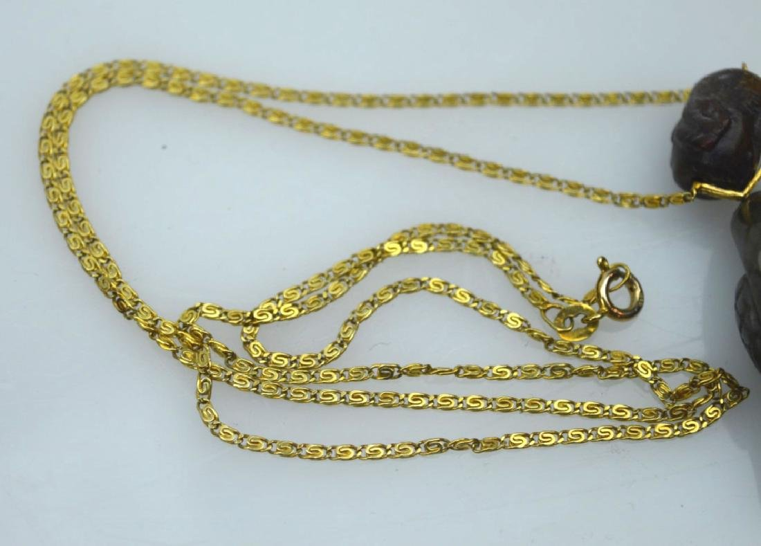 Qing Chinese 2 Color Jade Birds; 14K Chain - 6