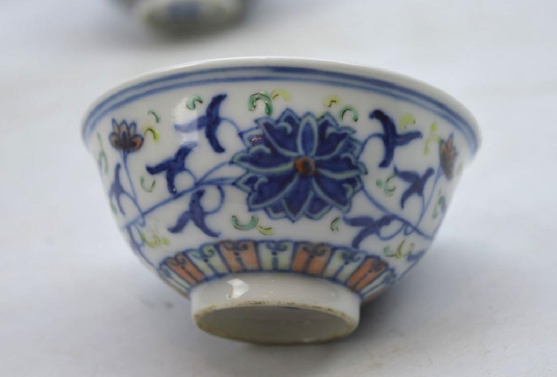 Pair Chinese Doucai Lotus Cups Guangxu - 2