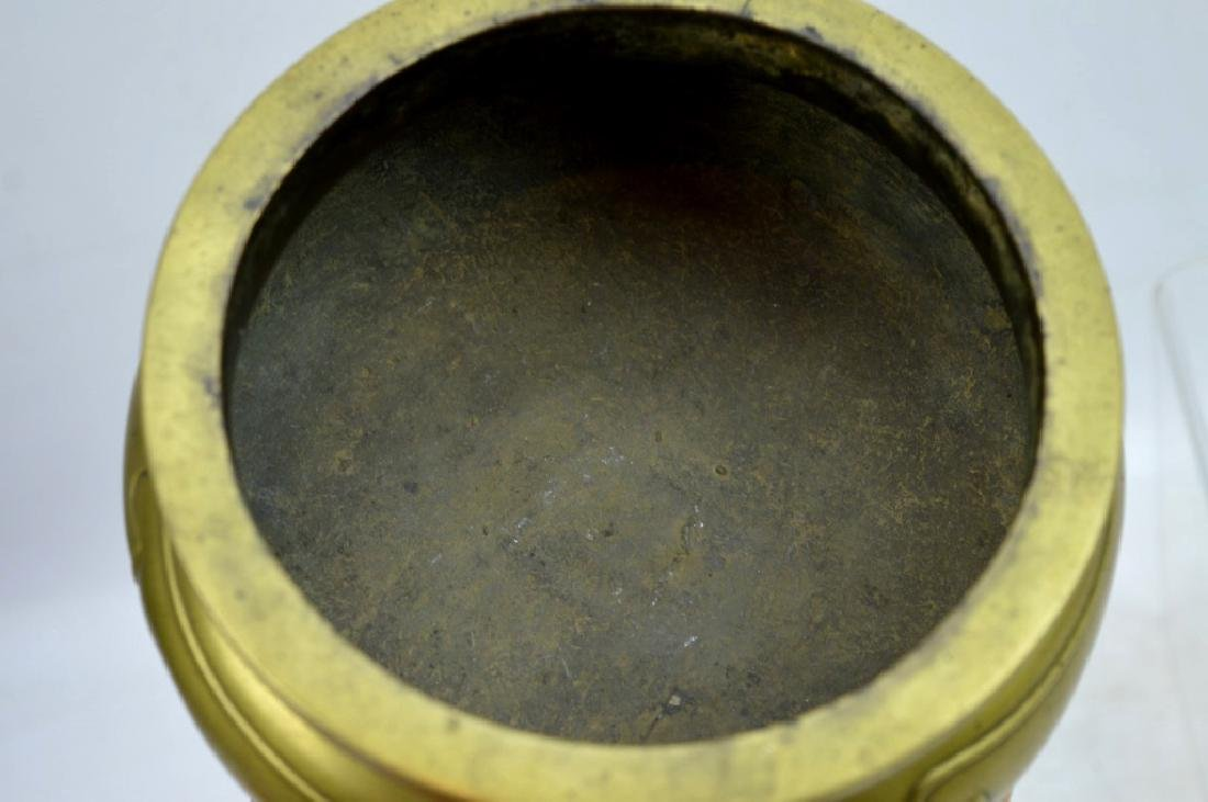 Good Antique Chinese Bronze Censer on 3 Feet - 5