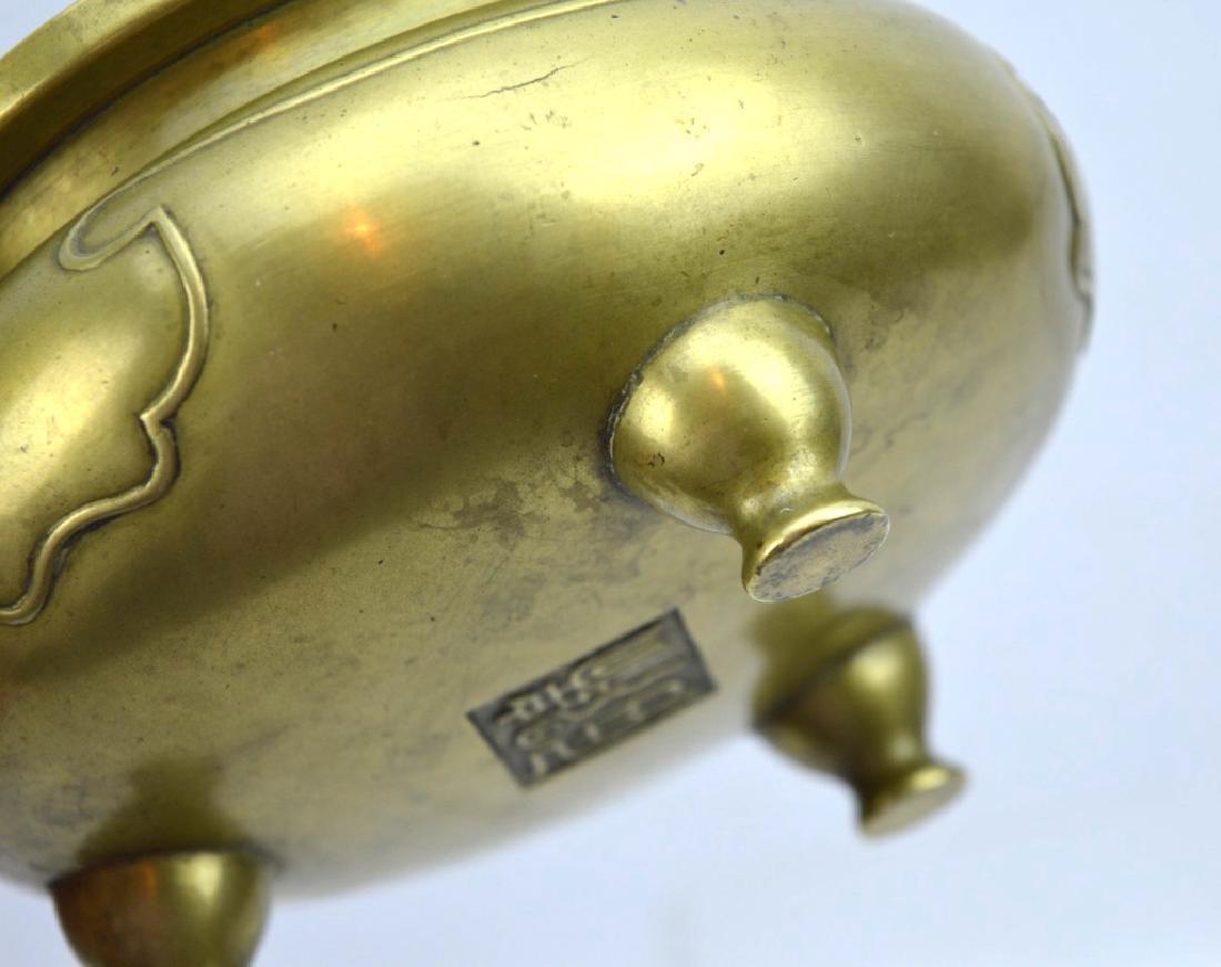 Good Antique Chinese Bronze Censer on 3 Feet - 6