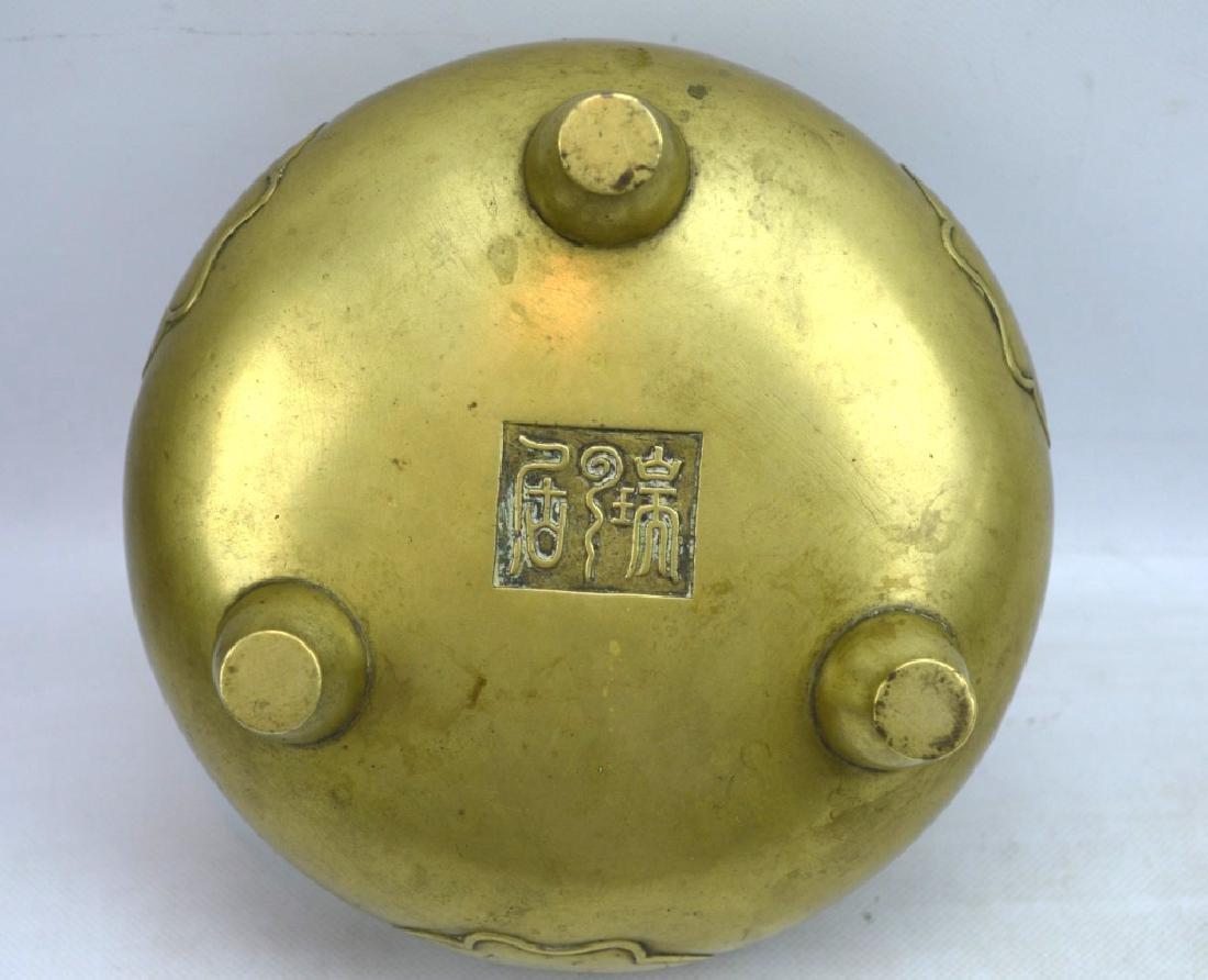 Good Antique Chinese Bronze Censer on 3 Feet - 7