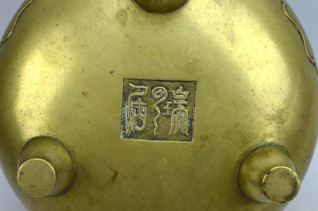 Good Antique Chinese Bronze Censer on 3 Feet - 8