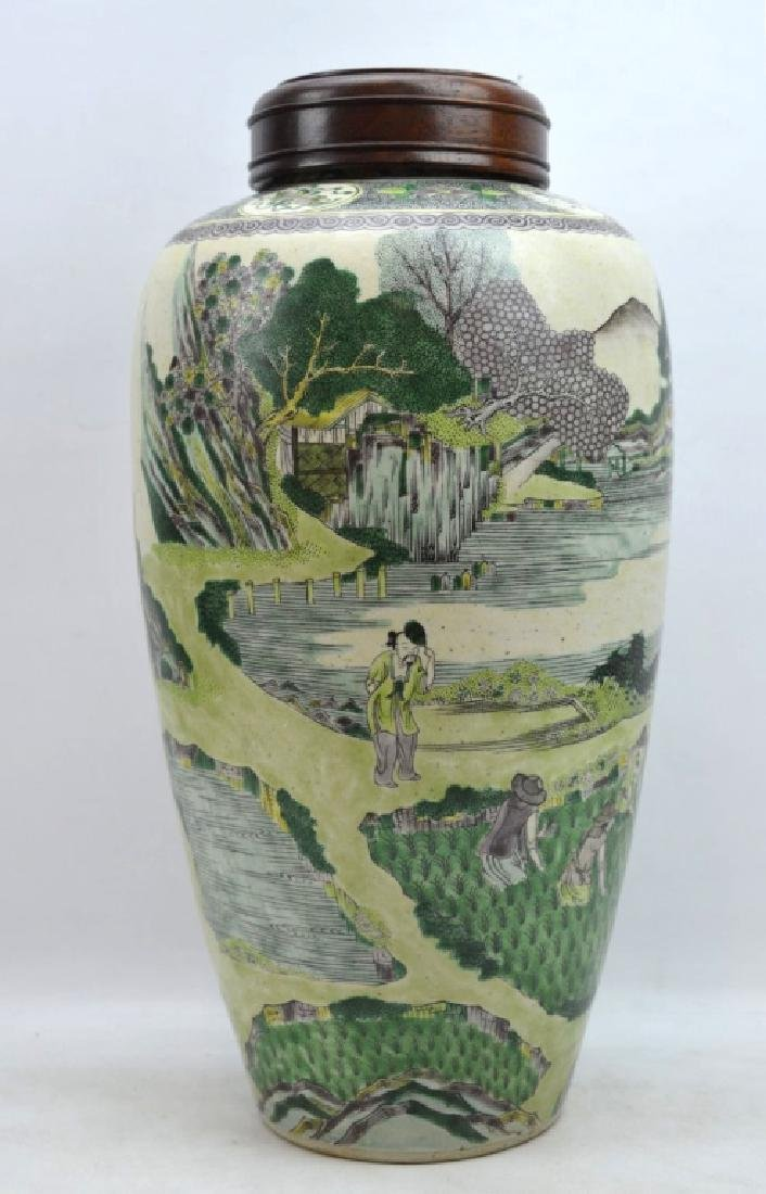 Chinese Kangxi Famille Verte on Biscuit Vase