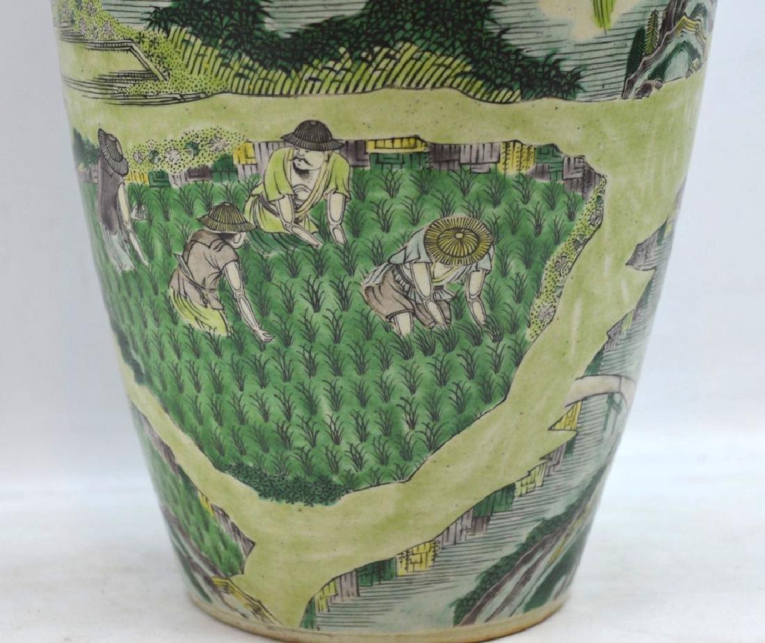 Chinese Kangxi Famille Verte on Biscuit Vase - 2