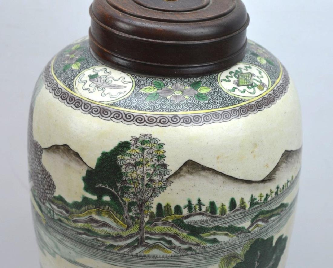 Chinese Kangxi Famille Verte on Biscuit Vase - 3