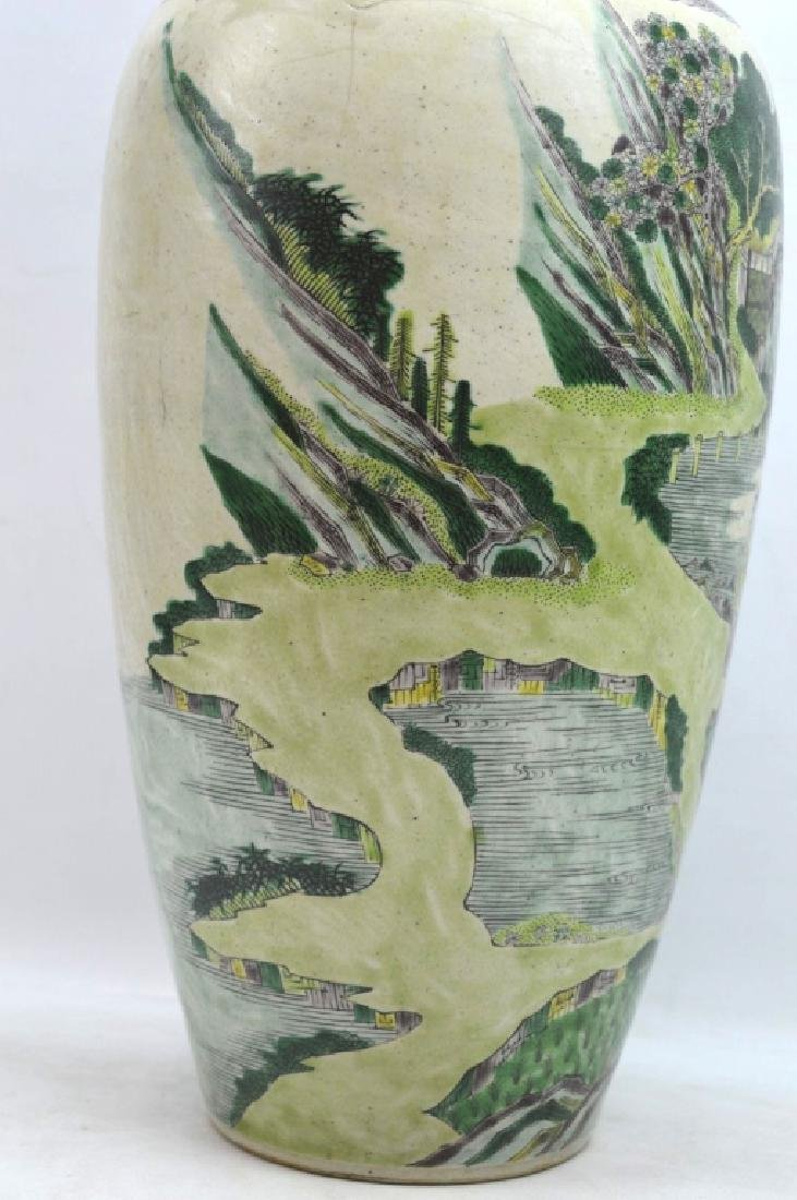 Chinese Kangxi Famille Verte on Biscuit Vase - 4