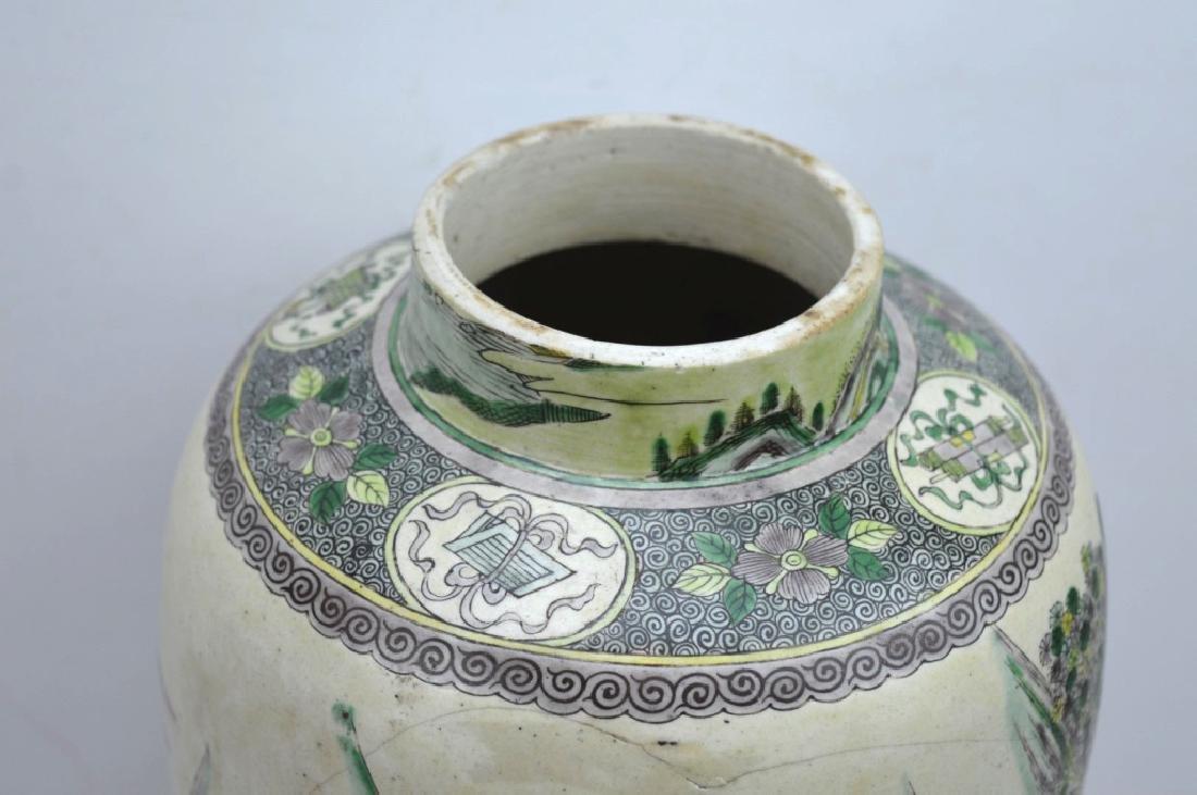 Chinese Kangxi Famille Verte on Biscuit Vase - 5