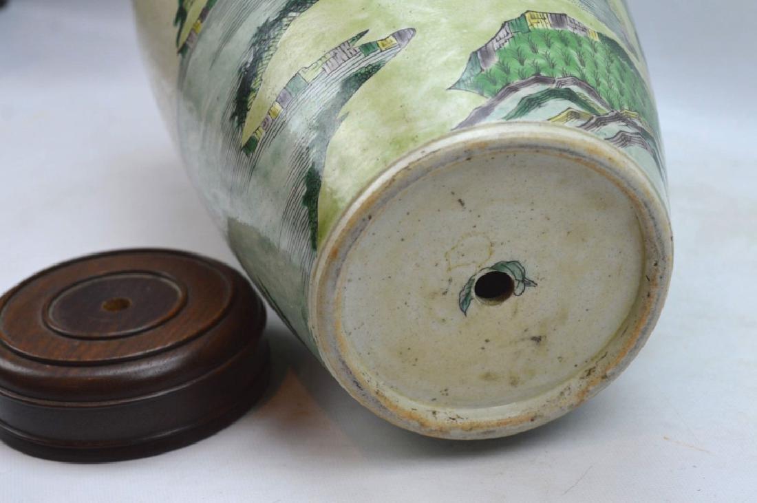 Chinese Kangxi Famille Verte on Biscuit Vase - 7