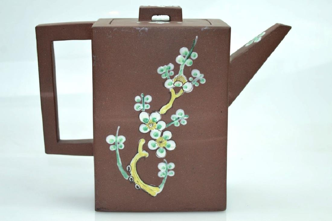 Chinese Rectangular Yixing Enameled Teapot - 4