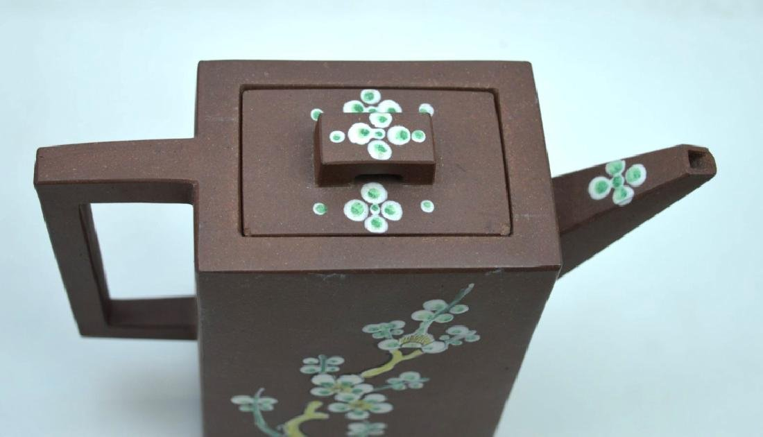 Chinese Rectangular Yixing Enameled Teapot - 5
