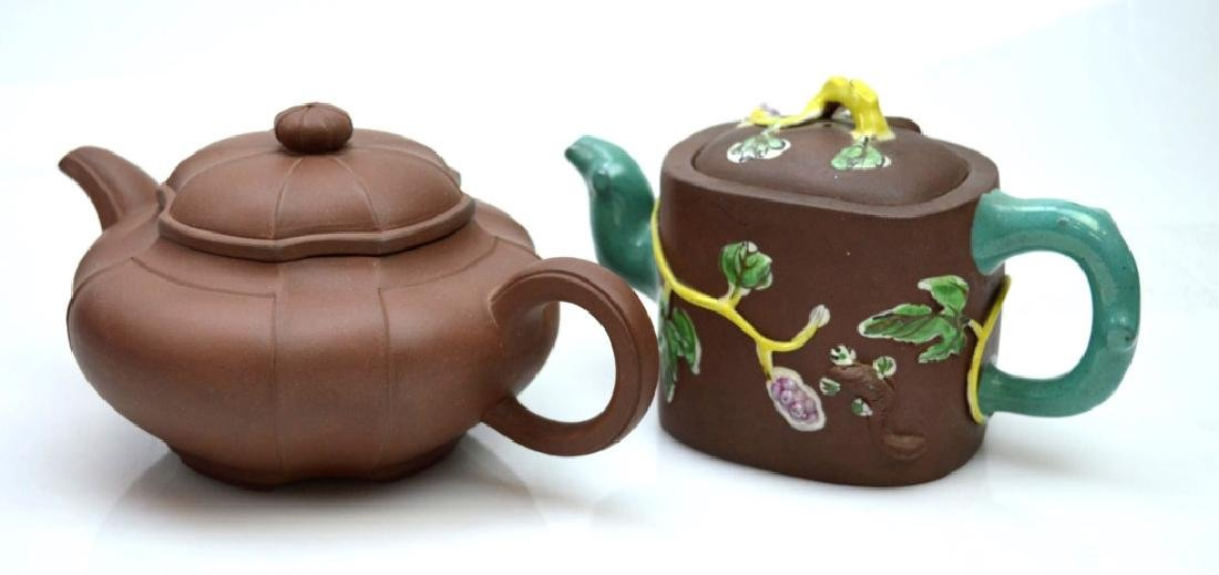 2 - Chinese Yixing Teapots; one Enamel Decorated