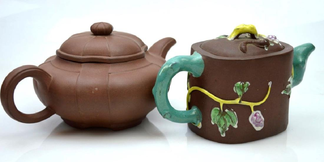 2 - Chinese Yixing Teapots; one Enamel Decorated - 2