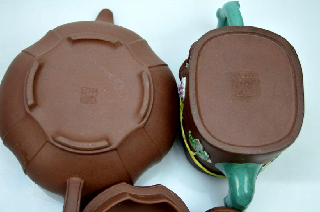 2 - Chinese Yixing Teapots; one Enamel Decorated - 7