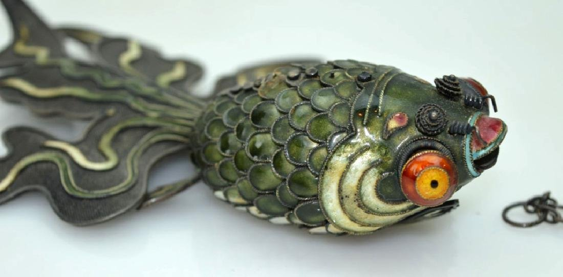 Large Chinese Silver Wire & Enamel Goldfish - 2